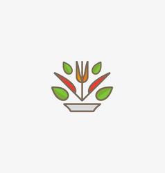 Linear healthy food logo design fork knife vector