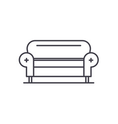 living room sofa line icon concept living room vector image
