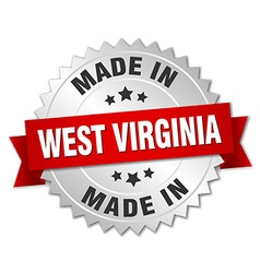 Made in West Virginia silver badge with red ribbon vector