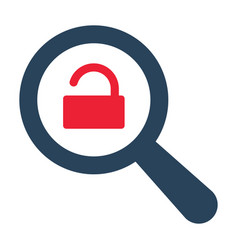magnifying optical glass with opened padlock icon vector image