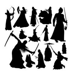 Martial art warrior silhouettes vector
