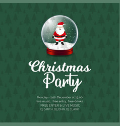 merry christmas party santa claus cartoon in ball vector image