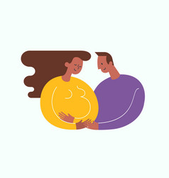Pregnant african-americam woman stroking her belly vector