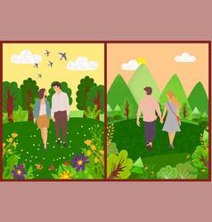 romantic day couple walking outdoor vector image
