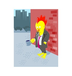 Rooster chicken unemployed office worker begging vector