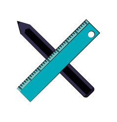 ruler with pencil icon image vector image