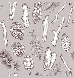 Seamless monochrome pattern with forest branches vector