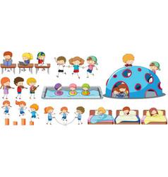 set of children activity vector image