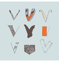 set of colorful alphabet letters V vector image