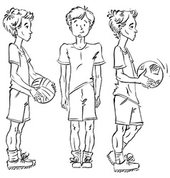 Set of full-length hand-drawn Caucasian teens with vector image