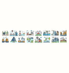 set of landscape icons or symbols collection of vector image