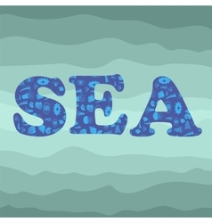 Shell Silhouette Decorative Letters Sea vector image
