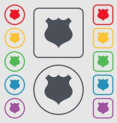 shield icon sign Symbols on the Round and square vector image