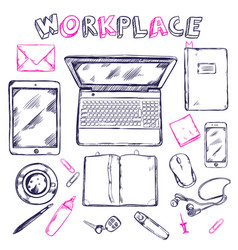 Sketch workplace top view composition vector