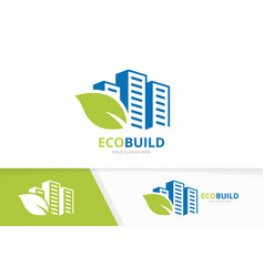 skyscraper and leaf logo combination house vector image