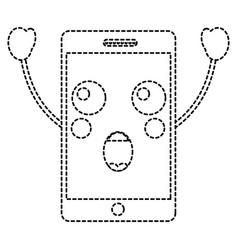 Suprised cellphone kawaii icon image vector