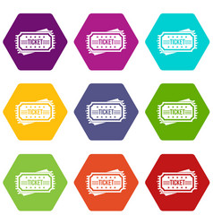 ticket icon set color hexahedron vector image