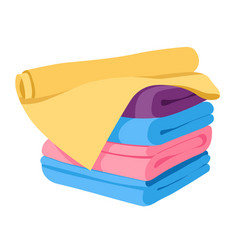 Towels stack or pile isolated icon soft fabric vector