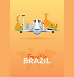 Travel to brazil airplane with attractions vector