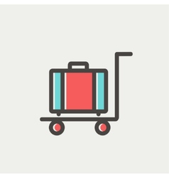 Trolley luggage thin line icon vector image