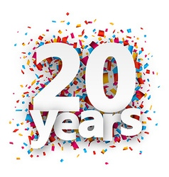 Twenty years paper confetti sign vector image