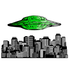 Ufo hiring at night city search professional vector