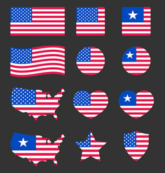 Usa flag icons set national symbol of the united vector