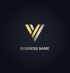 v initial shape line company logo vector image