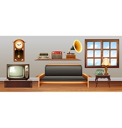 Vintage objects in the living room vector image