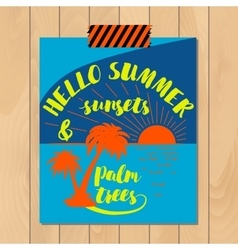 Vintage summer typography background with vector image