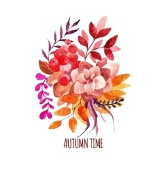Watercolor autumn bouquet hand-drawn vector