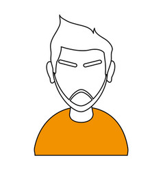 White and orange silhouette of cartoon half body vector