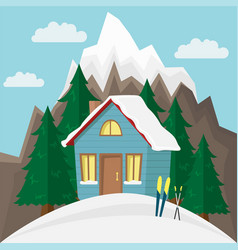 Winter mountain landscape background with country vector