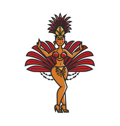 Woman carnival dancer vector