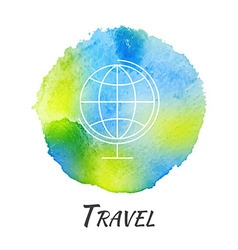 World globe travel watercolor concept vector