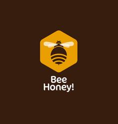bee hexagon honey emblem comb vector image vector image