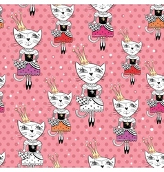 Fashion cat pattern vector
