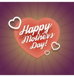 Happy Mothers Day Vintage Card With Hearts vector image vector image