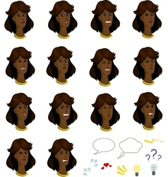 Set of cartoon afroamerican female faces with vector image vector image