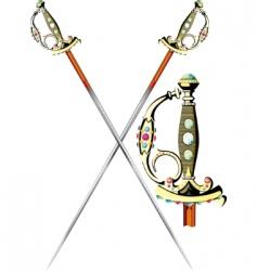 two crossed ceremonial sword vector image vector image