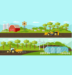 colorful agriculture horizontal banners vector image