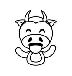 cow animal toy outline vector image