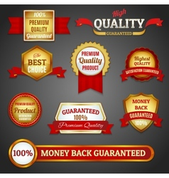 Golden quality labels set vector image vector image