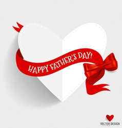Happy fathers day card design with heart and vector image