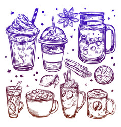 Hot winter drinks icon set vector