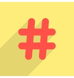 red hashtag icon with long shadow vector image vector image