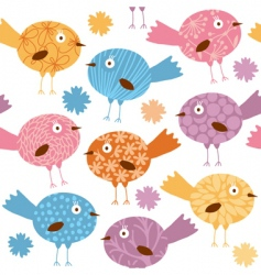 cartoon birds pattern vector image vector image