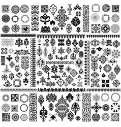 Floral filigree elements set vector