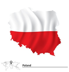 Map of Poland with flag vector image vector image
