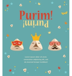 Purim party invitation with hipster Haman Ears vector image vector image